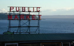 Pike Place Market, with Elliot Bay in the background